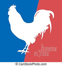 France vector illustration with French flag colors and cock...
