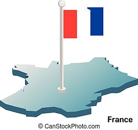 France vector map with national flag