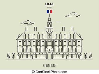 france., vieille, χρηματιστήριο , lille, διακριτικό σημείο , εικόνα