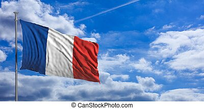 France waving flag on blue sky. 3d illustration