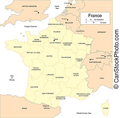 France with Provinces and Surrounding Countries