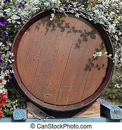France wood wine barrel grape harvest time.