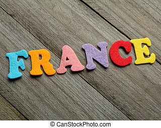France word on wooden background