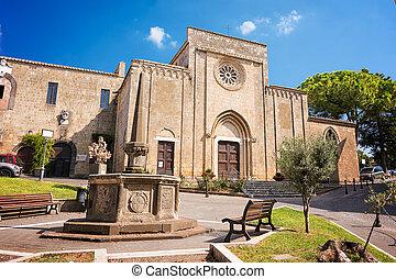 francesco, 歴史的, 中心, san, 教会, (italy), tarquinia