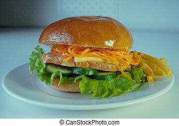 francese, coreano, cetrioli, grande, pollo, cheese., carote,...