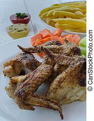 francese, pollo, salsa, frigge, verdura, ali