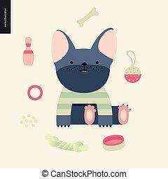 francese, vettore, bulldog., cartone animato, illustrazione