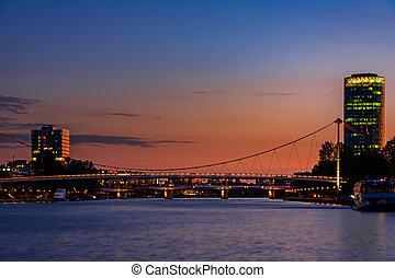 francfort, rivière, nuit, principal