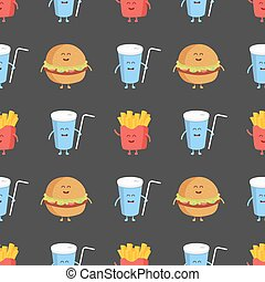 Franch fries, burger and cola seamless pattern. Template for kids menu restaurant. Vector illustration