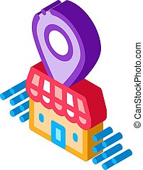franchise building location gps mark isometric icon vector ...