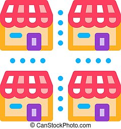 franchise business buildings icon vector outline ...
