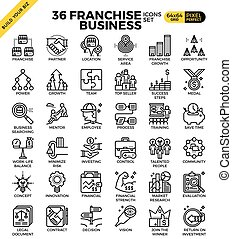 Franchise business icons - Franchise business outline icons ...