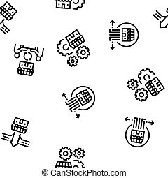Franchise Business Seamless Pattern Vector Thin Line. ...