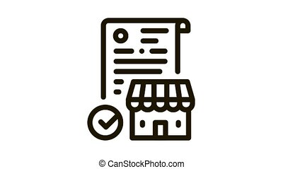franchise contract agreement Icon Animation. black franchise contract agreement animated icon on white background
