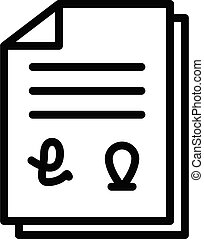 Franchise document icon, outline style