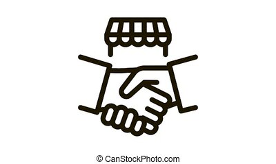 franchise handshake Icon Animation. black franchise handshake animated icon on white background