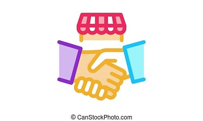 franchise handshake Icon Animation. color franchise handshake animated icon on white background