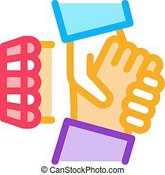 franchise handshake icon vector outline illustration - ...