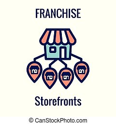 Franchise Icon Set with Home Office, corporate Headquarters...