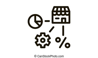 franchise infographic mechanical gear percent Icon Animation. black franchise infographic mechanical gear percent animated icon on white background