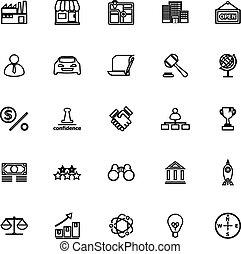 Franchise line icons on white background