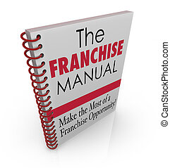 Franchise Manual words on a spiral bound book cover ...