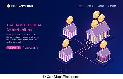 Franchise opportunities isometric landing page. Franchising ...