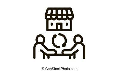 franchise partnership Icon Animation. black franchise partnership animated icon on white background
