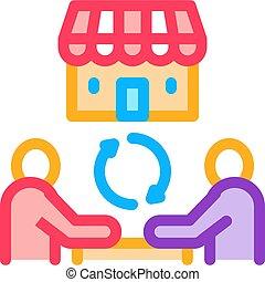 franchise partnership icon vector outline illustration - ...