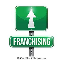 franchising sign illustration design over a white background