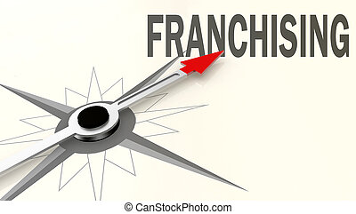 Franchising word on compass with red arrow