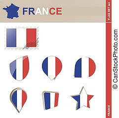francia, #3, set, set, bandiera