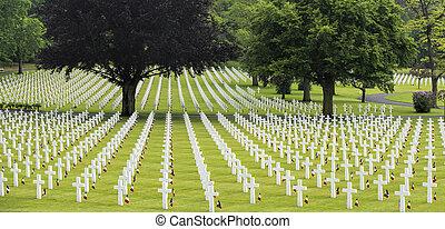 francia, americano, cimitero, giorno commemorativo