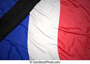 francia, cinta, negro, bandera, nacional, luto
