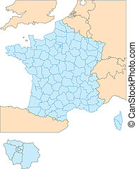 francia, con, amministrativo, distretti, e, circondare,...