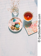 francia, desszert, helyett, szervál, noha, afternoon tea, vagy, kávécserje, break.