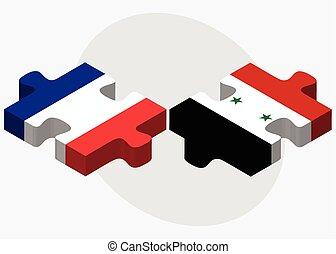 francia, e, siria, bandiere