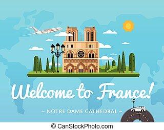 francia, famoso, benvenuto, attrazione, manifesto