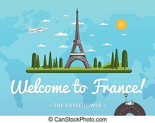francia, famoso, bienvenida, atracción, cartel