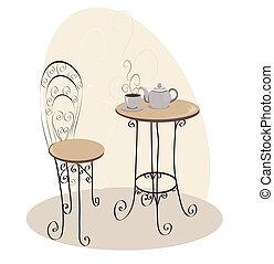 francia, kávézó asztal