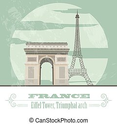 francia, landmarks., retro, disegnato