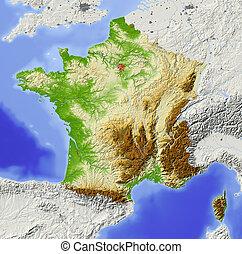 francia, mappa, ombreggiato, sollievo