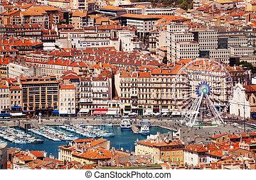 francia, marsella, ferris, vieux-port, rueda