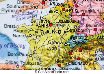francia, paese, mappa, .