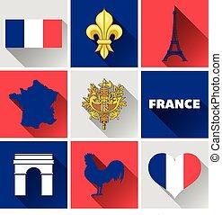 francia, plano, conjunto, icono