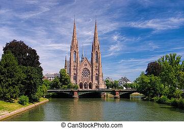 francia, s., estrasburgo, pauls, iglesia