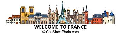francia, silueta, vector, señales, banner., contorno, delgado, urbano, viaje, línea, plano, cityscape, francés, iconos, ciudad, contorno, illustrations.