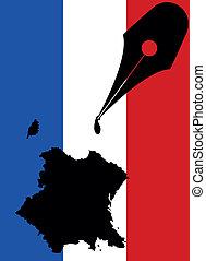 francia, tinta, forma
