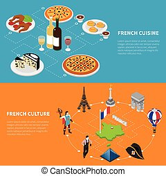 francia, turismo, 2, isometrico, bandiere, manifesto