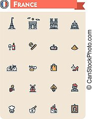 francia, viaje, conjunto, icono